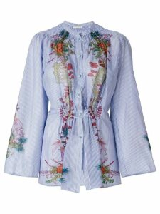Etro floral print gathered shirt - Blue