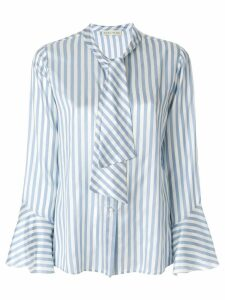 Etro striped pussy-bow shirt - Blue