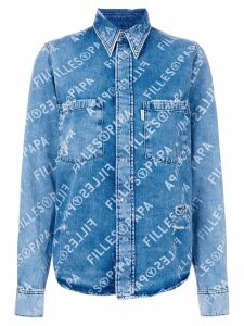 Filles A Papa logo print denim shirt - Blue