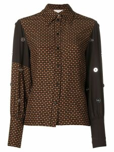 Chloé embroidered contrast print shirt - Brown
