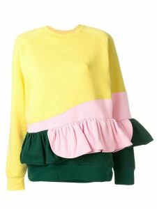 Ioana Ciolacu frilled colour block sweatshirt - Yellow