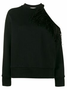 Christopher Kane open shoulder feather sweatshirt - Black