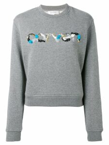 Carven sequin logo round neck sweatshirt - Grey