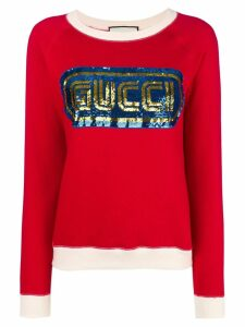 Gucci sequined logo sweatshirt - Red