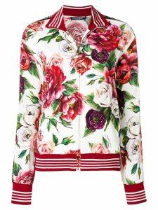 Dolce & Gabbana peony print zip-up sweatshirt - White