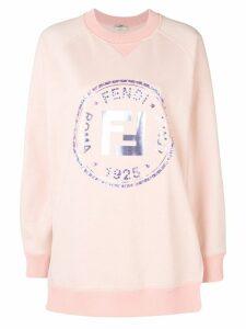 Fendi embellished FF logo sweatshirt - PINK