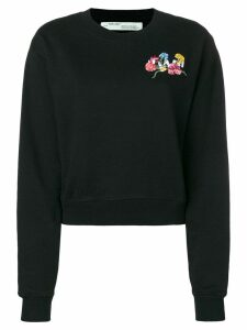 Off-White embroidered chest patch sweatshirt - Black
