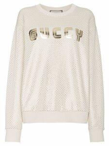 Gucci Guccy Print Sweatshirt - Neutrals
