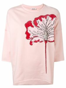 P.A.R.O.S.H. sequin flower cropped sleeve sweatshirt - PINK