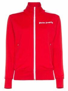 Palm Angels logo print stripe zipped sweatshirt - Red