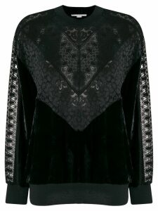Stella McCartney lace and velvet sweatshirt - Black