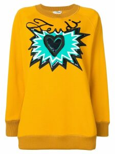 Fendi logo motif sweatshirt - ORANGE