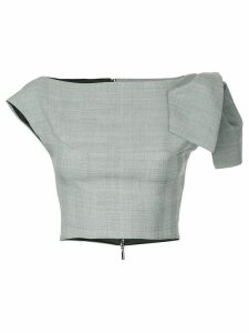 Maticevski cropped plaid top - Grey
