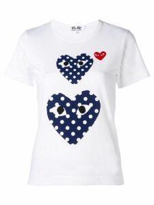 Comme Des Garçons Play polka dot heart T-shirt - White