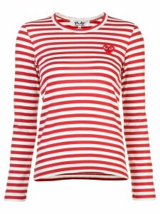 Comme Des Garçons Play little red heart striped T-shirt - White