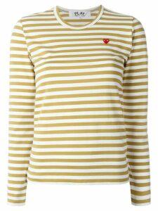 Comme Des Garçons Play heart-patch striped top - NEUTRALS