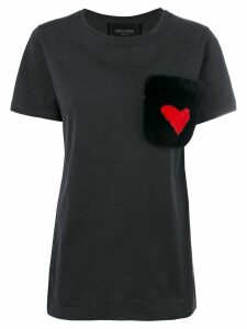 Mr & Mrs Italy fur pocket T-shirt - Black