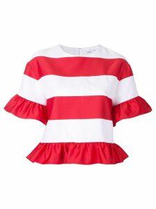 Goen.J striped ruffled T-shirt - White