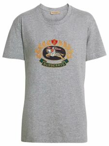 Burberry Embroidered Archive Logo Cotton T-shirt - Grey