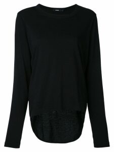 Bassike crew neck long sleeve top - Black