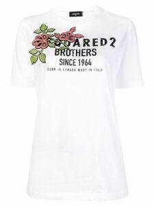 Dsquared2 flower logo print T-shirt - White