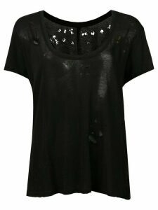 Unravel Project distressed sheer scoop neck T-shirt - Black