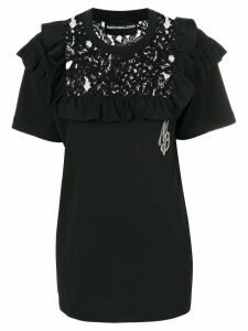 Marco Bologna lace yoke detail top - Black