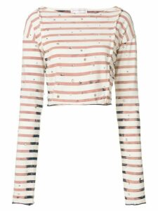 Faith Connexion striped cropped T-shirt - NEUTRALS