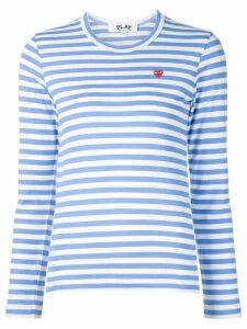 Comme Des Garçons Play heart logo striped T-shirt - Blue