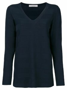 D.Exterior fine knit striped jumper - Blue