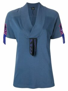 Mr & Mrs Italy embroidered detail T-shirt - Blue