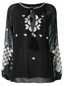 Cavalli Class embroidered long-sleeve blouse - Black