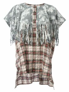 Faith Connexion tie-dye tartan fringed tunic - Multicolour