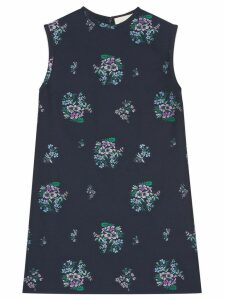 Gucci Flowers fil coupé cotton wool tunic top - Blue