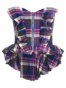 Natasha Zinko zip front check corset top - PINK