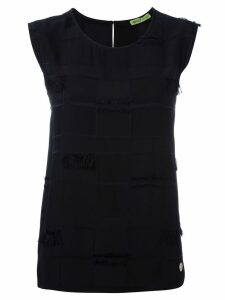 Versace Jeans Couture frayed trim sleeveless top - Black