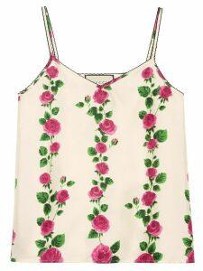 Gucci Rose Garden print tank top - White