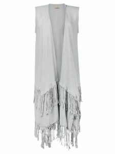 Caravana layered fringed open vest - Grey