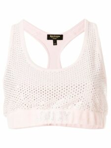 Juicy Couture Swarovski embellished velour crop top - Pink