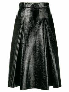 Three Floor vernished flared skirt - Black
