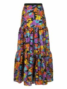 Mary Katrantzou floral flared maxi skirt - Black
