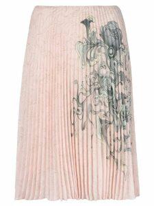 Prada pleated printed skirt - PINK