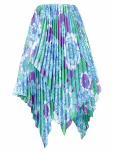 Richard Quinn floral print asymmetric pleated skirt - Blue