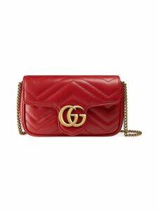 Gucci GG Marmont matelassé leather super mini bag - Red