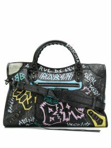 Balenciaga Classic City Graffiti Long Strap bag - Black
