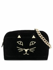 Charlotte Olympia embroidered kitty belt bag - Black