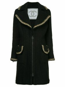 Chanel Pre-Owned zigzag trims zipped coat - Black