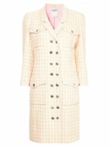 Chanel Pre-Owned 1996 checked double breasted coat - Yellow