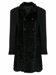 Comme Des Garçons Pre-Owned textured double-breasted coat - Black