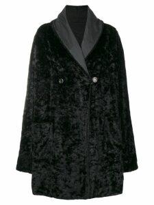 Fendi Pre-Owned fur effect boxy coat - Black